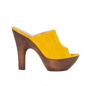 Gianvito Rossi Womens 125 Yellow Platform Mules